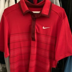 NIKE ROGER FEDERER POLO SHIRT RED/MAROON SZ SMALL